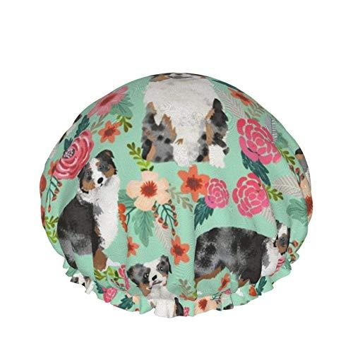 Gorro de ducha impermeable de doble capa, Aussie Dog Floral Best Blue Merle Dogs Ducha Cabello Gorros de baño Gorro de dormir elástico