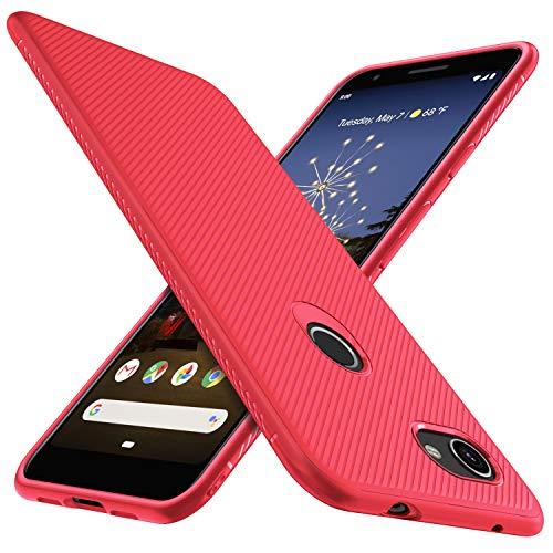 iBetter für Google Pixel 3A Hülle, Ultra Thin Tasche Cover Silikon Handyhülle Stoßfest Case Schutzhülle Shock Absorption Backcover Hüllen passt für Google Pixel 3A Smartphone (Rot)