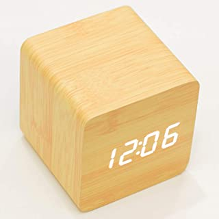B&B Digital Alarm Clock, Wooden LED Electric Display, Mini Cube Shape One-time Setup with Memory Function, 2.6-Inch Small ...