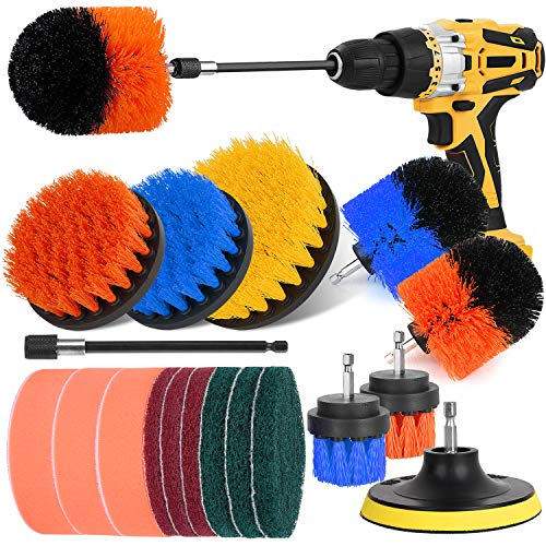 Drill Brush Power Scrubber - Drill Brush Attachment Set, Herrfilk Drill Cleaning Brush with Extend Long Attachment, Scrub Pads & Sponge, All Purpose for Cleaning Car, Bathroom, Grout, Tiles