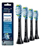 HX9044/95 C3 Premium Plaque Control Standard Sonic Toothbrush Replacment Heads Compatible with Philips Sonicare DiamondClean,ProtectiveClean,FlexCare,Black,4 Pack