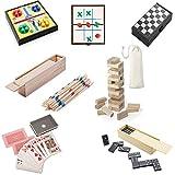 Partituki Pack Juegos de Mesa Clásicos Incluye: Mini Parchís, Mini Damas, Dominó, Baraja de Póker, Mikado, Juego Torre de Madera Jenga y Mini 3 en Raya