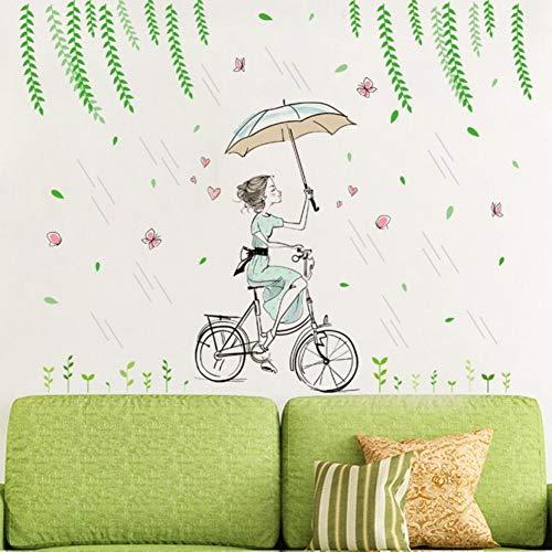 Bloem Fee Meisje Stickers Slaapkamer Woonkamer Muurstickers Home Decor Regen Paraplu Fiets Meisje Muurstickers