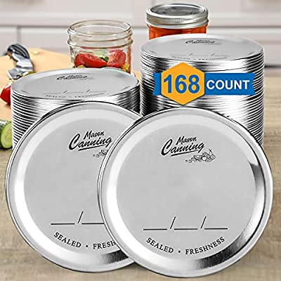 [ 168 Count, WIDE Mouth ] Canning Lids for Mason Jars - Split-Type Metal Lid for BALL KERR Jar - Airtight Sealed - Food Grade Material