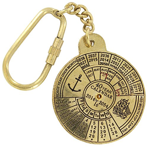 Armory Replicas Nautical 40 Year Calendar Handmade Brass Keychain
