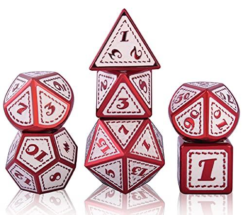Schleuder Poliedrici Dadi D&D Dice Set DND, Dadi da Gioco per Rpg Dungeons & Dragons, Pathfinder Gioco di Ruolo Gioco da Tavolo, Insegnamento della Matematica (Electrophoresis Red And White)