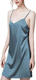 Ice Silk Suspender Nightdress, Women's Summer Sexy Nightgown, Solid Color Silk Skirt, Casual Home wear, Soft and Comfortable, V-Neck (Color : Blue, Size : L)