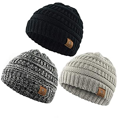 Durio 0-2 Years Warm Winter Baby Beanies for Boys Girls Soft Thick Cozy Knitted Toddler Infant Winter Hat Babies Caps 3 Pack Black & Light Grey & Black White