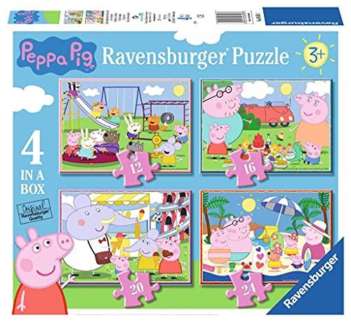 Ravensburger 069583 Puzzle Peppa Pig, 4 Puzzle de 12, 16, 20, 24 Piezas, Rompecabezas para Niños y Niñas, Edad Recomandada 3+