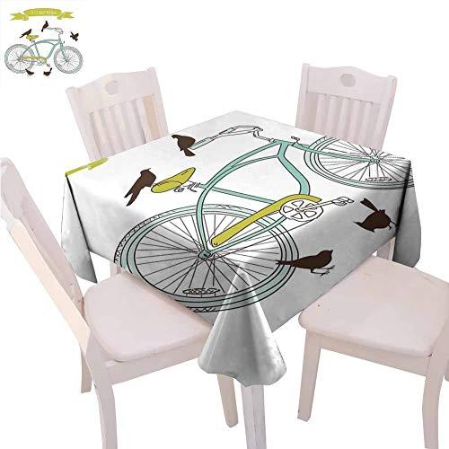 Nappe de vélo carrée imprimée I Love My Bike Concept avec oiseaux sur le siège Cruisers Basic Véhicule Simplistic Art Restaurant, 152,4 x 152,4 cm Vert Bleu