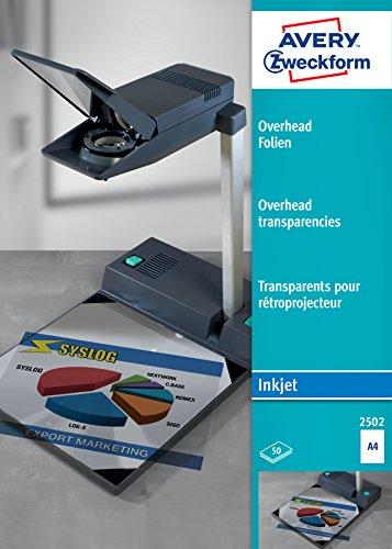 AVERY Zweckform 2502 Overhead-Folien für Inkjetdrucker (50 Transparentfolien, A4, spezialbeschichtet, stapelverarbeitbar, schnelle Farbaufnahme ohne Verschmieren und Verlaufen, Folienstärke 0,11mm)