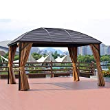 DNNAL Garden Gazebo, Awning Aluminum Pavilion Mobile Four Corner Pavilion Canopy for Outdoor Courtyard Garden Villa