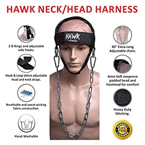 Hawk Sports Neck Harness Neck Exerciser Builder Support for Strength & Resistance Training Weight Lifting Head Harness for Stronger Neck & Traps with Adjustable Neck Strap & Steel Chain (Black)