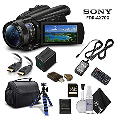 Sony Handycam FDR-AX700 4K HD Video Camera Camcorder with 128GB Memory Card + Carrying Case + HDMI Cable and More - Starter Kit by Sony