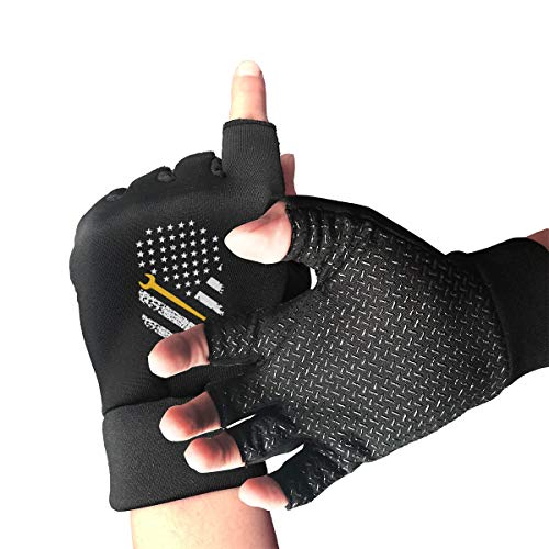 Mens Womens Ironworker with American Flag Yellow Fingerless Gloves for Computer Typing and Daily Work Massachusetts