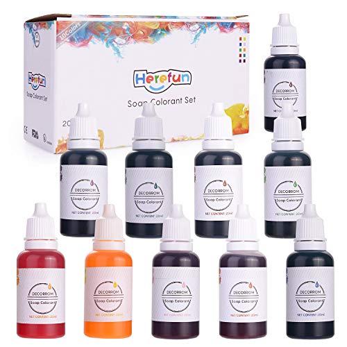 Herefun 10er×20ml Farbe Seifenfarbe Set Seifenherstellung Epoxidharz Farbe, Wasserlöslich Konzentriert Farbe für Seifen Seifenherstellung Badebombe kosmetische Farben