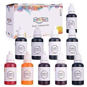 Herefun Colores de Jabón - 10 Colores x 20 ml Set, Jabón Fabricación Bomba de Baño Colores a Base de Agua colorantes - ¡Altamente Concentrado