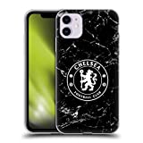 Head Case Designs Officially Licensed Chelsea Football Club Black Marble Crest Soft Gel Case Compatible with Apple iPhone 11