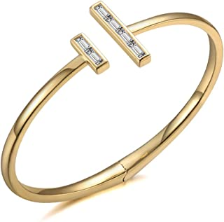 Italina Fashion Cubic Zirconia T Bangle Bracelet Jewelry Gifts for Women Ladies Rhodium/Gold/Rosegold Plated Wedding Birthday