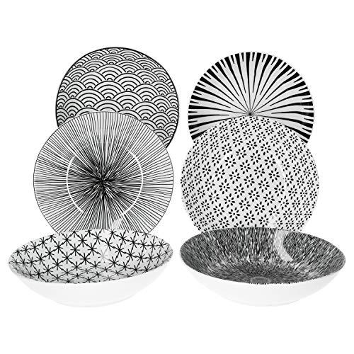 MamboCat Seoul 6er Suppen-Teller-Set schwarz-weiß I modernes Design-Teller-Set für 6 Personen I extravagante Steingut-Teller mit Muster - tiefe Pasta-Teller Ø 20 cm I große Teller tief 6 Stück