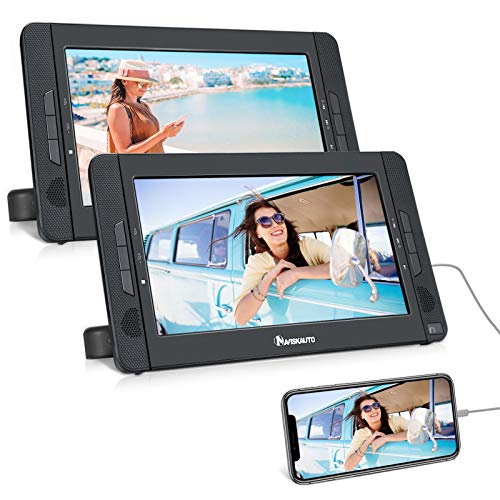 NAVISKAUTO 10.5' Dual Screen Portable DVD Player with HDMI Input, Two Mounting Brackets, 5-Hour Playing Time, Play a Same or Two Different Movies (2 X DVD Player)
