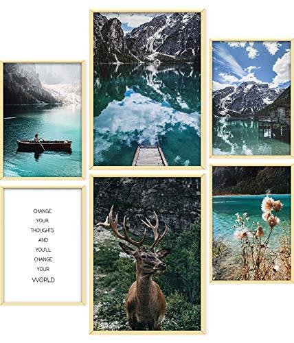 ARTORIA | Premium Poster Set - Goldener Hirsch | Ohne Rahmen | Moderne Bilder für Wohnung 4xA4 & 2xA3: Wohnzimmer & Schlafzimmer & Büro | Home Deko für Wände | Schöne Geschenke mit ästhetischem Design