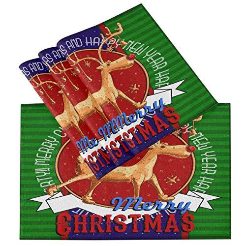 NotApplicable Conjunto De Manteles Individuales Merry Christmas Reindeer Snowflake Winter Star Garden Esteras De Mesa Fiesta De Hotel Bodas Cena Placemats Set Vívido Al Aire Libre Interior Dura