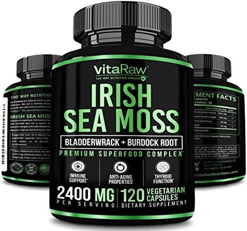 Organic Irish Sea Moss Capsules w Burdock Root Bladderwrack Powder 2400mg Seamoss Pills for product image