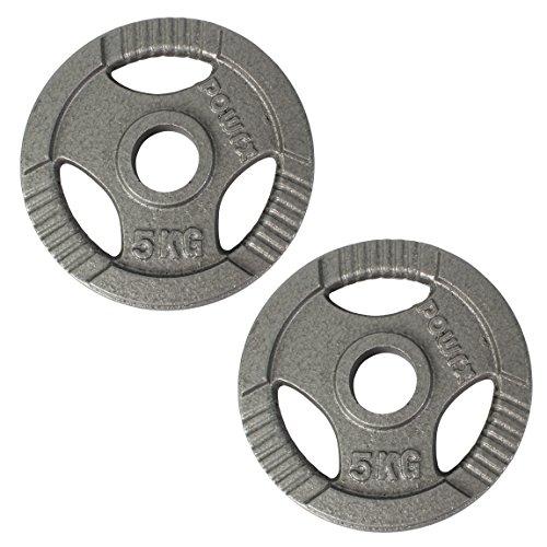 POWRX Discos olímpicos 10 kg Set (2 x 5 kg) - Pesas Ideales para Mancuernas y Barras olímpicas con diámetro 50 mm (Plata) ⭐