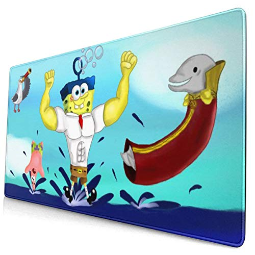 Anime Spongebob Squarepants Mouse Pad with Stitched Edge Premium-Textured Mouse Mat Rectangle Non-Slip Rubber Base Oversized Gaming Mousepad,for Laptop Computer & Pc 15.8x29.5 Inches