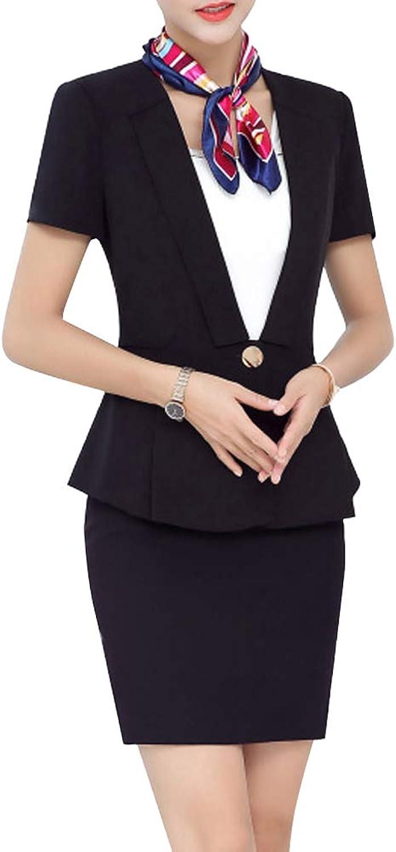 LISUEYNE Women 2 Pieces Formal Office Blazer Suit Business Work Jacket Skirt Suit Set