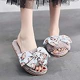 XZDNYDHGX Peluche Cómodo Zapatos Talla Grande,Zapatillas de Lana con Lazo para Mujer, para Interiores y Exteriores,Zapatos deslizantes de vellón difuso, Invierno, Gris, EU 40-41