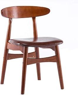 Bar stoolsQX Sillas de Cocina de restauración Retro de Espalda Silla roja Brown Marco de Madera Maciza Silla de Comedor Ocio Discusión Silla roja-marrón PU Esponja del cojín Muebles de Comedor