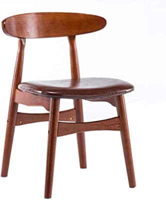 HTDZDX Kitchen Dining Chairs Retro Low Back Chair Red Brown Solid Wood Frame Dining Chair Leisure Discussion Chair Red-Brown PU Sponge Pad Dining Room Furniture