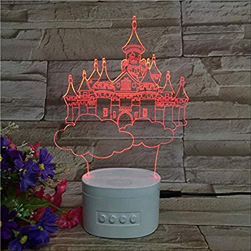 Nachtlicht Castle Illusion Light 3D 5-Farben-Farbverlauf Umgebungslicht Kreative Bluetooth-Lautsprecher Weiß Basis