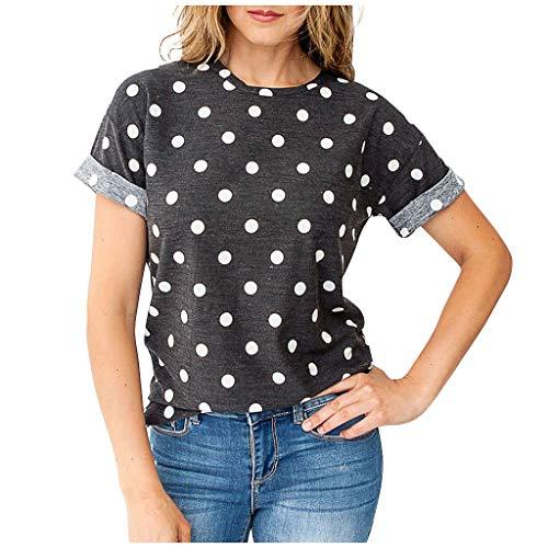 Dasongff T-shirt voor dames, ronde hals, modieus, stippen, gestippeld, turn-up, mouwen, bovenstuk, zomer X-Large grijs