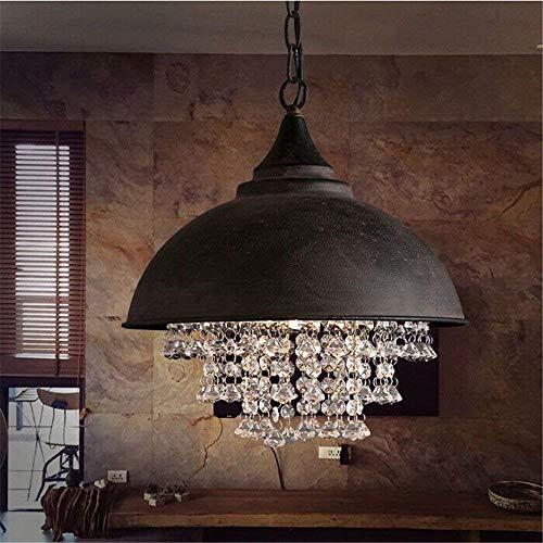 Vintage-Stil - Pantalla de lámpara de hierro con purpurina, gran iluminación de cristal, perlas, colgante, lámpara colgante, uso E27, bombilla con 1 luz, color negro