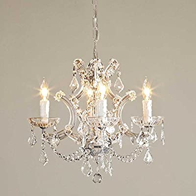 """Saint Mossi Crystal Maria Therese Chandelier Lighting 4 Lights H17"""" W18"""""""