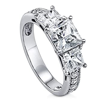 BERRICLE Rhodium Plated Sterling Silver Princess Cut Cubic Zirconia CZ 3-Stone Anniversary Promise Wedding Engagement Ring 3.2 CTW Size 9