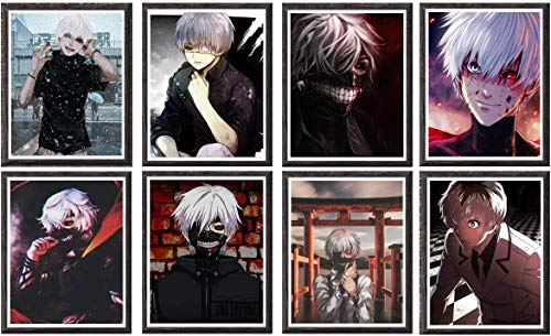YEAHTOPE Juego de 8 juegos de póster de Tokyo Ghoul Kaneki Ken Manga de anime de One Eye Lord of Ghoul, 8 x 10 pulgadas, sin marco