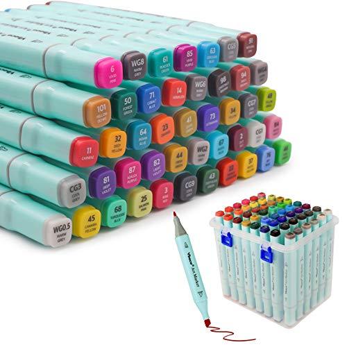 Juego de rotuladores de alcohol de 48 colores, rotulador de doble punta, rotulador de pincel, ideal para colorear por artistas, niños, principiantes y adultos.
