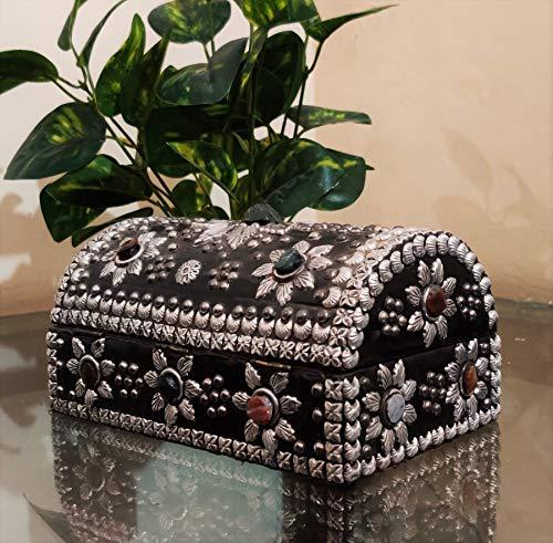 Akriti - Joyero de latón con piedra y madera, cajas decorativas, cajas de regalo, caja de accesorios, caja de almacenamiento, decoración de LBH, 20,8 12 cm, fabricado en la India