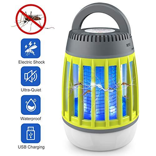 WloveTravel Lampe Anti Moustique, Lampe 3 en 1 Bug Zapper Lanterne de Camping et Chargement d'urgence Batterie Rechargeable de 2 200 mAh avec Crochet escamotable à 3 Modes (Vert)