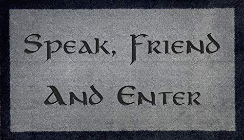 """Artisan Kiss Felpudo lavable de 70 cm x 40 cm, diseño con texto en inglés """"Speak friend"""" y enter JRR Tolkien – Hobbit – El Señor de los Anillos – Elfish (habla gris claro)"""