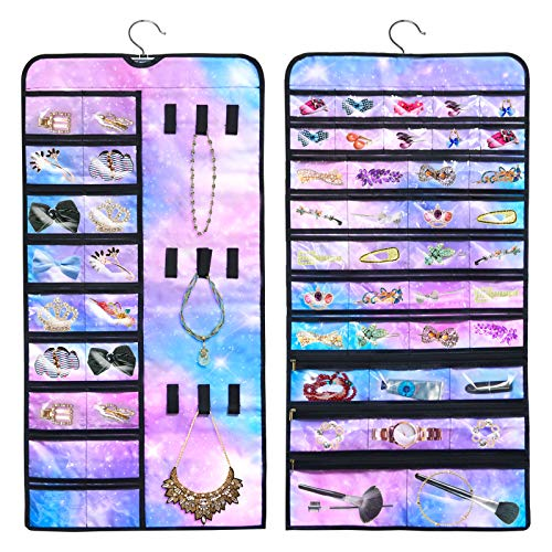 PASHOP Hanging Jewelry Holder Organizer Double Side 56 Pockets with Zipper and 9 Hooks for Earring Necklace Storage Bag (Rainbow Starry)