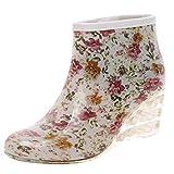 HULKY Bottes de Pluie pour Femmes Compensées Bottes de Pluie à Tube Court Chaussons Imperméables Boots Antidérapants Bottines