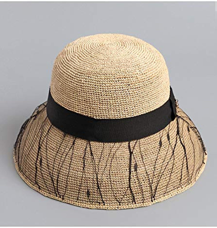 Women Elegant Lafite Straw Sunhat Wide Brim Cap Travel Sun Blocking Straw Hat with Lace Decoration Summer Beach,Black