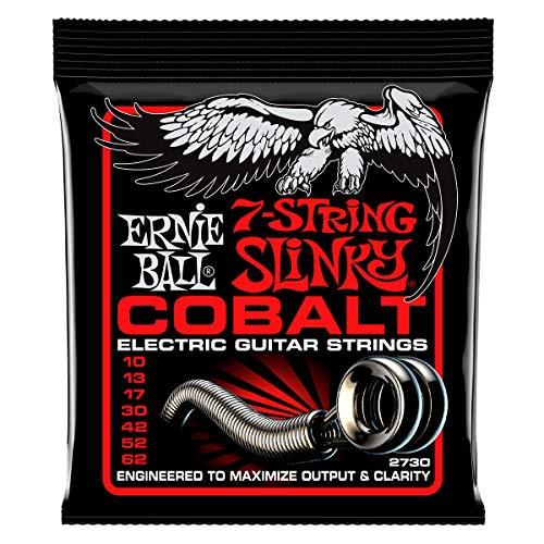 Ernie Ball Skinny Top Heavy Slinky Cobalt Juego de cuerdas para guitarra eléctrica, 7 cuerdas, calibre 10-62