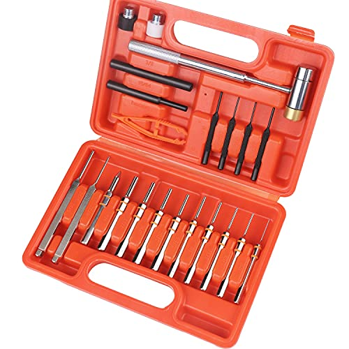 HORUSDY 22-Pieces Gunsmithing Tool, Punch Set Gunsmith Punch Made of Solid Material, Including Steel Punch and Hammer with Steel for Gunsmithing Maintenance