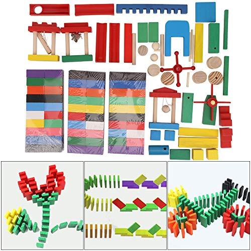 300pcs Juego de dominó de madera de colores, Bloques de construcción de dominó Puzzle educativos Carreras de juegos de juguetes con azulejos para niños adultos